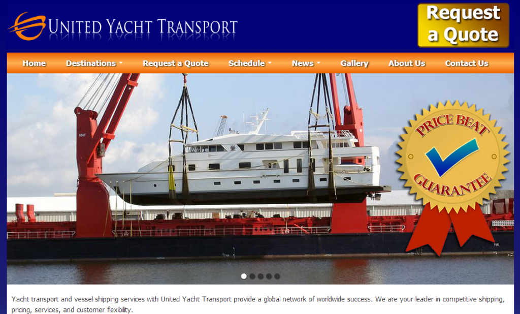 United Yacht Transport website